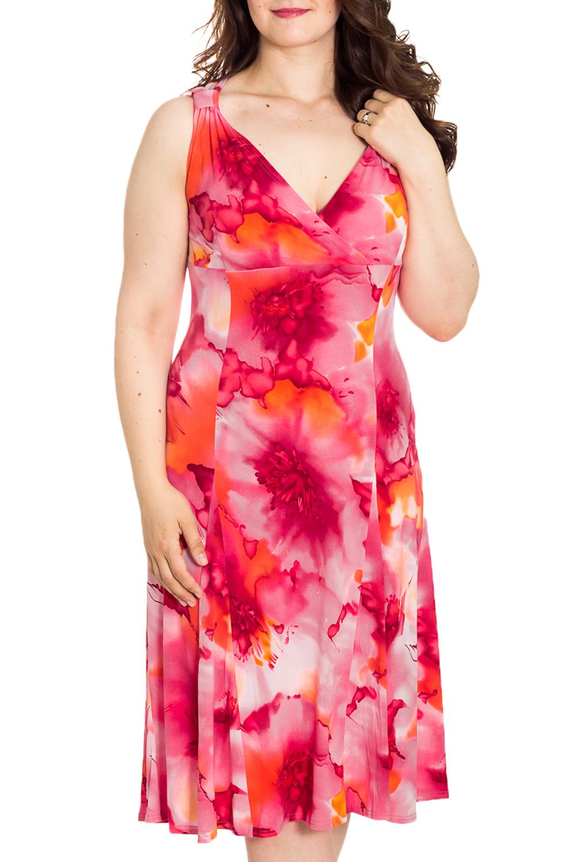 СарафанПлатья<br>Цветной сарафан с V-образной горловиной. Модель выполнена из мягкой вискозы. Отличный выбор для повседневного гардероба.  Цвет: розовый, красный, коралловый, оранжевый  Рост девушки-фотомодели 180 см<br><br>Горловина: V- горловина,Запах<br>По рисунку: Растительные мотивы,Цветные,Цветочные<br>По силуэту: Полуприталенные<br>По сезону: Лето,Всесезон<br>Рукав: Без рукавов<br>Размер : 48,50<br>Материал: Холодное масло<br>Количество в наличии: 2
