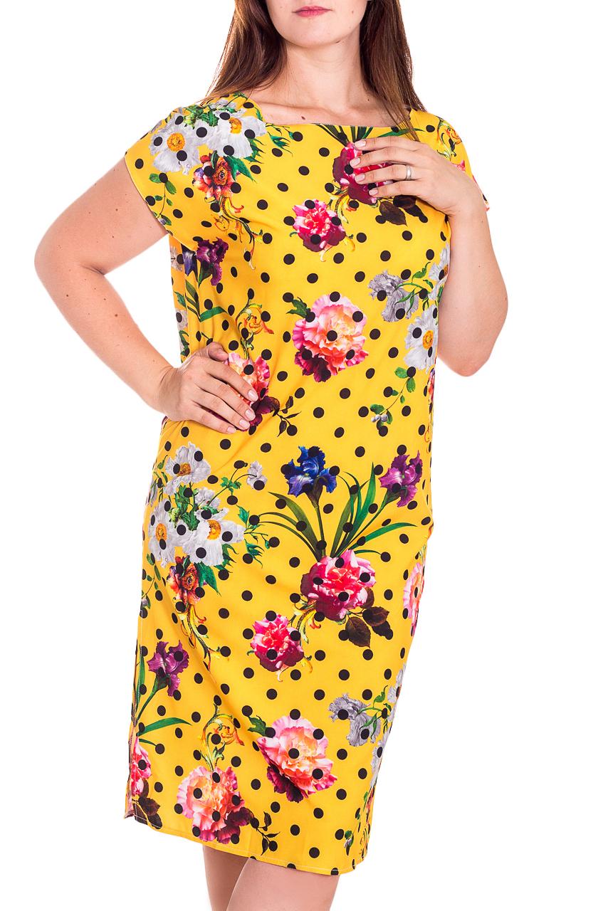 ПлатьеПлатья<br>Яркое платье полуприталенного силуэта с закругленной головиной и короткими рукавами. Модель выполнена из приятного материала. Отличный выбор для повседневного гардероба.  В изделии использованы цвета: желтый, розовый и др.  Рост девушки-фотомодели 180 см.<br><br>Горловина: С- горловина<br>По длине: Ниже колена<br>По материалу: Тканевые<br>По образу: Город<br>По рисунку: В горошек,Растительные мотивы,С принтом,Цветные,Цветочные<br>По силуэту: Полуприталенные<br>По стилю: Повседневный стиль<br>По форме: Платье - футляр<br>Рукав: Короткий рукав<br>По сезону: Лето<br>Размер : 48<br>Материал: Плательная ткань<br>Количество в наличии: 1