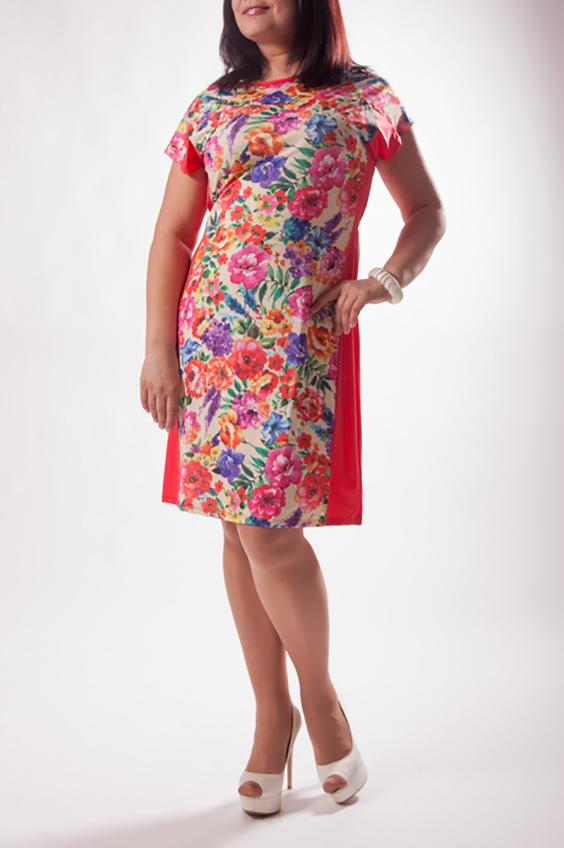 ПлатьеПлатья<br>Цветное платье с короткими рукавами и однотонными вставками по бокам. Модель выполнена из приятного трикотажа. Отличный выбор для повседневного гардероба.  Цвет: коралловый, мультицвет  Ростовка изделия 170 см.<br><br>Горловина: С- горловина<br>По длине: До колена<br>По материалу: Трикотаж<br>По образу: Город,Свидание<br>По рисунку: Растительные мотивы,С принтом,Цветные,Цветочные<br>По силуэту: Полуприталенные<br>По стилю: Повседневный стиль<br>По форме: Платье - футляр<br>Рукав: Короткий рукав<br>По сезону: Лето<br>Размер : 50,52,54<br>Материал: Холодное масло<br>Количество в наличии: 4
