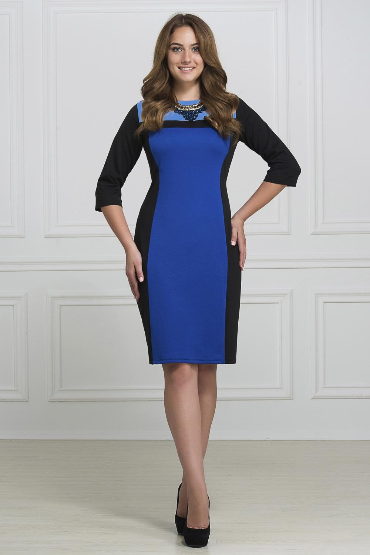 ПлатьеПлатья<br>Изящное платье. Контрастные, яркие цвета позволят сочетать платье с любой обувью и аксессуарами.  В изделии использованы цвета: синий, черный, голубой  Рост девушки-фотомодели 173 см<br><br>Горловина: С- горловина<br>По материалу: Вискоза,Трикотаж<br>По образу: Город,Офис,Свидание<br>По рисунку: Цветные<br>По силуэту: Приталенные<br>По стилю: Повседневный стиль<br>По форме: Платье - футляр<br>Рукав: Рукав три четверти<br>По сезону: Осень,Весна,Зима<br>По длине: До колена<br>Размер : 46,48,52<br>Материал: Трикотаж<br>Количество в наличии: 5