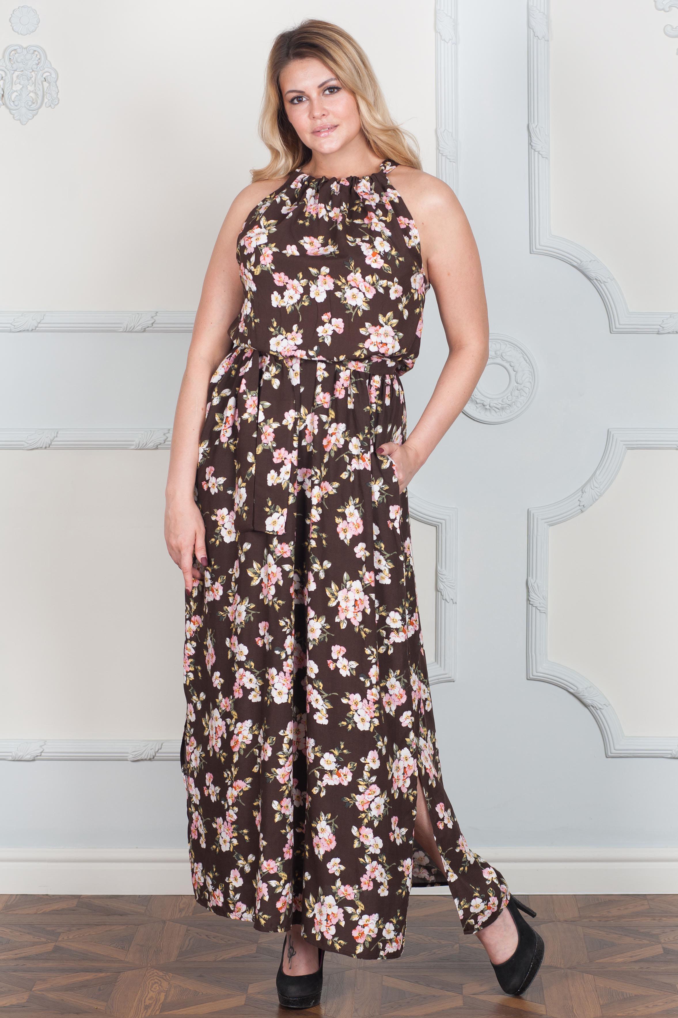 ПлатьеСарафаны<br>Женственное платье с цветочным принтом станет изюминкой Вашего гардероба. Побалуйте себя этой великолепной покупкой  В изделии использованы цвета: кориневый, розовый и др.  Рост девушки-фотомодели 170 см<br><br>Бретели: Тонкие бретели<br>По длине: Макси<br>По материалу: Хлопок<br>По рисунку: Растительные мотивы,С принтом,Цветные,Цветочные<br>По силуэту: Полуприталенные,Свободные<br>По стилю: Греческий стиль,Летний стиль,Повседневный стиль,Романтический стиль<br>По элементам: С декором,С резинкой,Со складками<br>Рукав: Без рукавов<br>По сезону: Лето<br>Размер : 42,44,46<br>Материал: Хлопок<br>Количество в наличии: 3