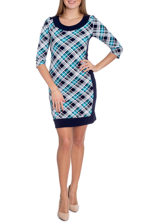 ПлатьеПлатья<br>Цветное платье с принтом клетка. Модель выполнена из приятного трикотажа. Отличный выбор для любого случая.  В изделии исползованы цвета: синий, голубой, белый  Рост девушки-фотомодели 170 см.<br><br>Горловина: С- горловина<br>По длине: До колена<br>По материалу: Вискоза,Трикотаж<br>По образу: Город<br>По рисунку: В клетку,С принтом,Цветные<br>По сезону: Зима,Осень,Весна<br>По силуэту: Полуприталенные<br>По стилю: Повседневный стиль<br>По форме: Платье - футляр<br>Рукав: Рукав три четверти<br>Размер : 50,52<br>Материал: Трикотаж<br>Количество в наличии: 2