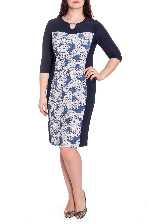 ПлатьеПлатья<br>Красивое платье с рукавами 3/4 и закругленной горловиной с капелькой. Модель выполнена из приятного трикотажа. Отличный выбор для любого случая.  В изделии использованы цвета: синий, белый  Рост девушки-фотомодели 180 см<br><br>Горловина: С- горловина<br>По длине: До колена<br>По материалу: Трикотаж<br>По рисунку: С принтом,Цветные<br>По силуэту: Приталенные<br>По стилю: Повседневный стиль<br>По форме: Платье - футляр<br>По элементам: С декором<br>Рукав: Рукав три четверти<br>По сезону: Осень,Весна<br>Размер : 48,50,54,56,58<br>Материал: Холодное масло<br>Количество в наличии: 5