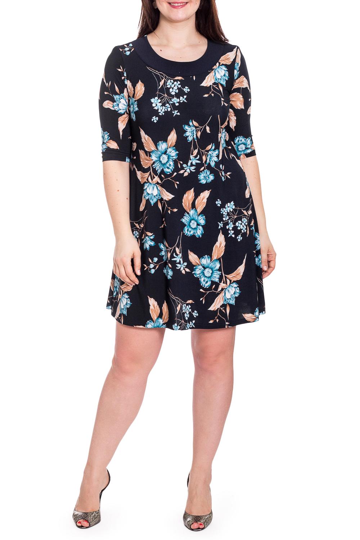 ПлатьеПлатья<br>Красивое платье с рукавами до локтя и закругленной горловиной. Модель выполнена из приятного трикотажа. Отличный выбор для любого случая.  В изделии использованы цвета: синий и др.  Рост девушки-фотомодели 180 см<br><br>Горловина: С- горловина<br>По длине: До колена<br>По материалу: Трикотаж<br>По рисунку: Растительные мотивы,С принтом,Цветные,Цветочные<br>По силуэту: Полуприталенные<br>По стилю: Повседневный стиль<br>По форме: Платье - трапеция<br>Рукав: До локтя<br>По сезону: Осень,Весна<br>Размер : 48,50,52,56<br>Материал: Холодное масло<br>Количество в наличии: 6