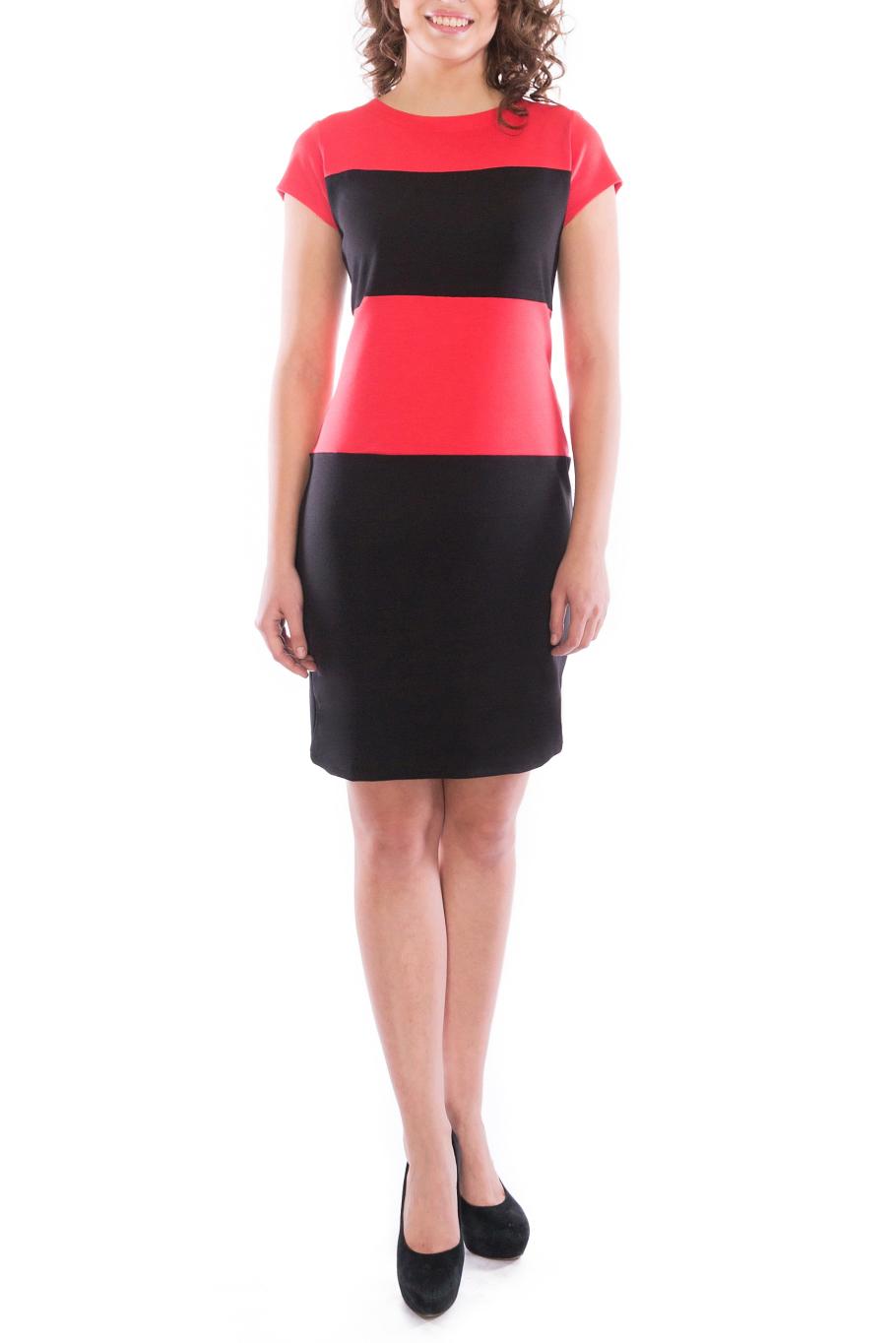 ПлатьеПлатья<br>Элегантное платье построенное на сочетании двух контрастных цветов. Классический вариант для офиса. Ткань - плотный трикотаж, характеризующийся эластичностью, растяжимостью и мягкостью. Ростовка изделия 170 см.  Длина изделия 96-98 см.  В изделии использованы цвета: черный, коралловый  Рост девушки-фотомодели 173 см<br><br>Горловина: С- горловина<br>По длине: До колена<br>По материалу: Вискоза,Трикотаж<br>По образу: Город,Свидание<br>По рисунку: В полоску,Цветные<br>По силуэту: Приталенные<br>По стилю: Повседневный стиль<br>По форме: Платье - футляр<br>Рукав: Короткий рукав<br>По сезону: Осень,Весна,Зима<br>Размер : 46,48,50,52<br>Материал: Трикотаж<br>Количество в наличии: 4