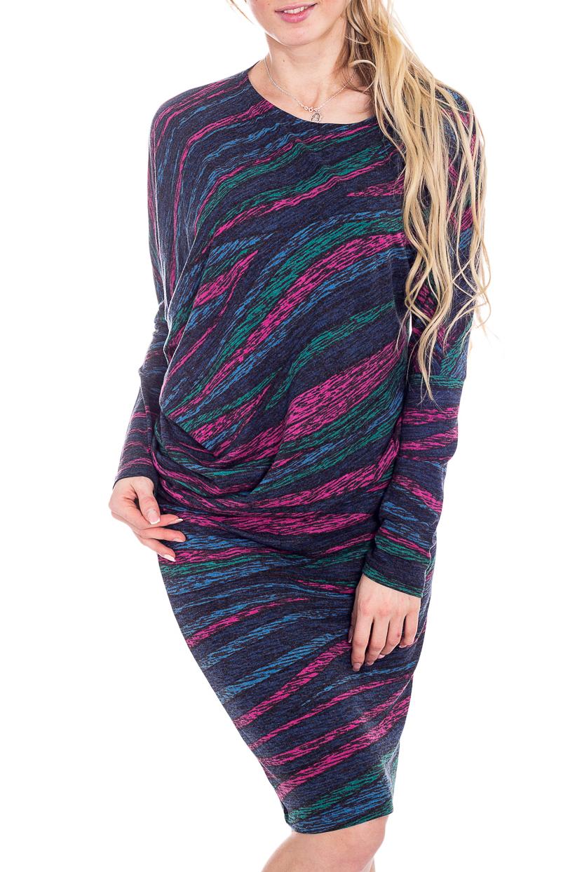 ПлатьеПлатья<br>Уютное платье из теплого трикотажа, выполненное в виде асимметричного блузона и юбки-карандаша. Мягкая, хорошо драпирующаяся ткань позволяет скрыть недостатки фигуры, одновременно придавая образу женственность и изысканность. Блузон на притачном поясе подчеркивает линию бедра.  В изделии использованы цвета: синий, розовый, бирюзовый и др.  Рост девушки-фотомодели 180 см.<br><br>Горловина: С- горловина<br>По длине: До колена<br>По материалу: Трикотаж,Шерсть<br>По образу: Город,Свидание<br>По рисунку: С принтом,Цветные<br>По сезону: Осень,Зима<br>По силуэту: Приталенные<br>По стилю: Повседневный стиль<br>По форме: Платье - футляр<br>Рукав: Длинный рукав<br>Размер : 44,46<br>Материал: Трикотаж<br>Количество в наличии: 2