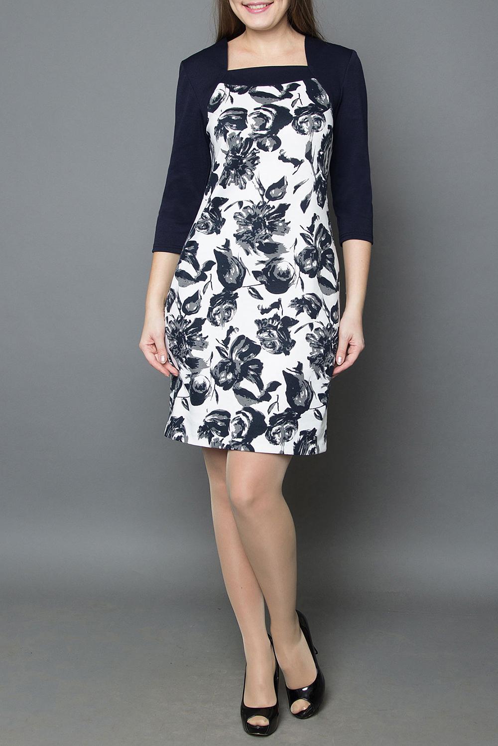 ПлатьеПлатья<br>Женское платье прямого силуэта с контрастными фигурным верхом изделия, представляет собой прекрасную композицию, для повседневной носки. Идеально подчеркивает фигуру и скроет большинство недостатков, благодаря рисунку, мягкой фактуре ткани и великолепной посадке  Длина 48-50 - 98 см, 52-60-115 см.  В изделии использованы цвета: черный, белый  Рост девушки-фотомодели 180 см.<br><br>Горловина: Квадратная горловина<br>По длине: До колена<br>По материалу: Трикотаж<br>По рисунку: Растительные мотивы,С принтом,Цветные,Цветочные<br>По сезону: Весна,Осень,Зима<br>По силуэту: Приталенные<br>По стилю: Повседневный стиль<br>По форме: Платье - футляр<br>Рукав: Длинный рукав<br>Размер : 50,52,56,58<br>Материал: Джерси<br>Количество в наличии: 4