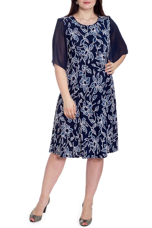 ПлатьеПлатья<br>Нарядное платье с круглой горловиной и рукавами до локтя. Модель выполнена из приятного трикотажа с рукавами из шифона. Отличный выбор для любого случая.   В изделии использованы цвета: синий, белый и др.  Рост девушки-фотомодели 180 см.<br><br>Горловина: С- горловина<br>По длине: Ниже колена<br>По материалу: Трикотаж,Шифон<br>По рисунку: Растительные мотивы,С принтом,Цветные,Цветочные<br>По сезону: Весна,Зима,Лето,Осень,Всесезон<br>По силуэту: Полуприталенные<br>По стилю: Нарядный стиль<br>По форме: Платье - трапеция<br>Рукав: До локтя<br>Размер : 52,54<br>Материал: Холодное масло + Шифон<br>Количество в наличии: 2