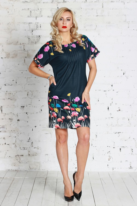 ПлатьеПлатья<br>Платье из полушерстяного трикотажного полотна полуприлегающего силуэта с поясом, с внутренними боковыми карманами. Линия плеча спущена, оформлена обтачками, горловина оформлена защипами.  Цвет: синий, мультицвет  Рост девушки-фотомодели 175 см<br><br>Горловина: С- горловина<br>По длине: До колена<br>По материалу: Трикотаж,Шерсть<br>По рисунку: Растительные мотивы,С принтом,Цветные,Цветочные<br>По сезону: Зима,Осень,Весна<br>По силуэту: Приталенные<br>По стилю: Повседневный стиль<br>По элементам: С декором,Со складками<br>Рукав: Короткий рукав<br>Размер : 42<br>Материал: Трикотаж<br>Количество в наличии: 1
