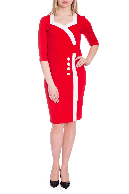 ПлатьеПлатья<br>Цветное платье с фигурной горловиной и рукавами 3/4. Модель выполнена из приятного трикотажа. Отличный выбор для любого случая.   В изделии использованы цвета: красный, белый  Рост девушки-фотомодели 170 см.<br><br>Горловина: Фигурная горловина<br>По длине: До колена<br>По материалу: Вискоза,Трикотаж<br>По рисунку: Цветные<br>По силуэту: Приталенные<br>По стилю: Нарядный стиль,Повседневный стиль<br>По форме: Платье - футляр<br>Рукав: Рукав три четверти<br>По сезону: Осень,Весна<br>Размер : 44,46,48,50,52,54<br>Материал: Трикотаж<br>Количество в наличии: 11