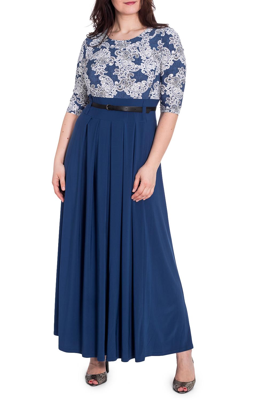 ПлатьеПлатья<br>Эффектное платье в пол. Модель выполнена из струящегося трикотажа. Отличный выбор для любого случая. Платье без пояса.  В изделии использованы цвета: синий, белый  Рост девушки-фотомодели 180 см<br><br>Горловина: С- горловина<br>По длине: Макси<br>По материалу: Трикотаж<br>По рисунку: С принтом,Цветные<br>По сезону: Лето,Осень,Весна<br>По силуэту: Полуприталенные<br>По стилю: Повседневный стиль<br>По форме: Платье - трапеция<br>Рукав: Рукав три четверти<br>Размер : 48,50<br>Материал: Холодное масло<br>Количество в наличии: 2