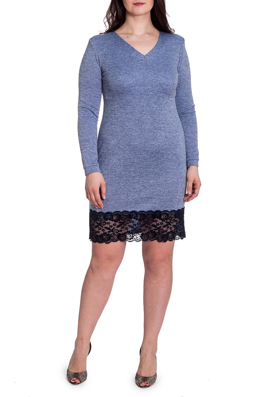 ПлатьеПлатья<br>Чудесное платье с длинными рукавами. Модель выполнена из плотного трикотажа с гипюровым подолом. Отличный выбор для любого случая.  В изделии использованы цвета: синий, черный  Рост девушки-фотомодели 180 см<br><br>Горловина: V- горловина<br>По длине: До колена<br>По материалу: Гипюр,Трикотаж<br>По рисунку: Однотонные<br>По сезону: Весна,Осень,Зима<br>По силуэту: Приталенные<br>По стилю: Повседневный стиль<br>По форме: Платье - футляр<br>По элементам: С манжетами<br>Рукав: Длинный рукав<br>Размер : 50,52,54,56,58<br>Материал: Трикотаж + Гипюр<br>Количество в наличии: 5