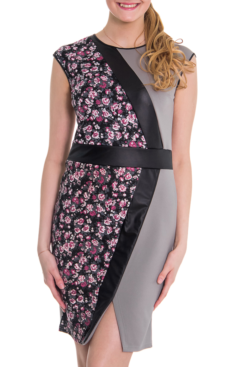 ПлатьеПлатья<br>Женское платье с круглой горловиной и короткими рукавами. Модель выполнена из плотного трикотажа. Отличный выбор для повседневного гардероба.  Цвет: серый, черный розовый  Рост девушки-фотомодели 176 см<br><br>Горловина: С- горловина<br>По образу: Город,Свидание<br>По рисунку: Растительные мотивы,Цветные,Цветочные,С принтом<br>По сезону: Весна,Осень<br>По силуэту: Полуприталенные<br>По элементам: С декором<br>Рукав: Короткий рукав,Без рукавов<br>По форме: Платье - футляр<br>По материалу: Трикотаж<br>По стилю: Повседневный стиль<br>По длине: До колена<br>Размер : 44,46,48,50,52,54<br>Материал: Трикотаж<br>Количество в наличии: 2
