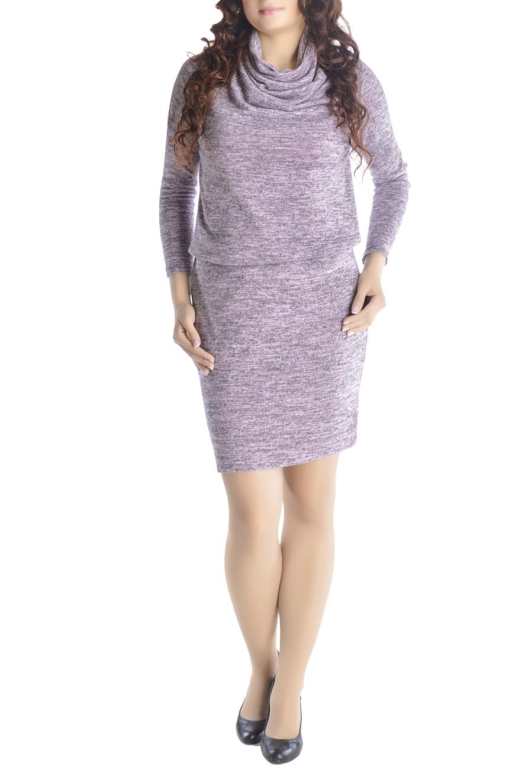 ПлатьеПлатья<br>Уютный и теплый трикотаж этой модели мягко драпирует фигуру. Прямая юбка, свободный верх и длинный рукав. Широкий воротник-хомут можно носить разными способами - полностью закрыть шею или уложить мягкими складками. Модели платья с широким верхом в области плеч и узким по бедрам низом идут всем. Ткань - мягкий трикотаж, характеризующийся эластичностью и растяжимостью.  Ростовка изделия 170 см.  Длина изделия 100-105 см. в зависимости от размера.  В изделии использованы цвета: серый меланж, розовый  Рост девушки-фотомодели 170 см.  Параметры размеров (обхват груди; обхват талии, обхват бедер): 46 размер - 92; 74; 100 см 48 размер - 96; 78; 104 см 50 размер - 100; 82; 108 см 52 размер - 104; 86; 112 см 54 размер - 108; 90; 116 см 56 размер - 112; 94; 120 см 58 размер - 116; 98; 124 см 60 размер - 120; 102; 128 см<br><br>Воротник: Хомут<br>По длине: До колена<br>По материалу: Трикотаж<br>По рисунку: С принтом,Цветные<br>По сезону: Зима,Осень,Весна<br>По силуэту: Полуприталенные<br>По стилю: Офисный стиль,Повседневный стиль<br>По форме: Платье - футляр<br>Рукав: Длинный рукав<br>Размер : 44,46,48,50,52,54<br>Материал: Трикотаж<br>Количество в наличии: 12