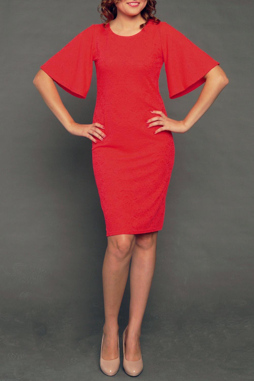 ПлатьеПлатья<br>Элегантное платье лаконичного дизайна приталенного силуэта с круглым вырезом горловины. Модель выполнена из комфортного трикотажного полотна с рельефным узором. Оригинальность изделию придает расклешенный ниспадающий рукав.   Цвет: красный  Рост девушки-фотомодели 177 см<br><br>Горловина: С- горловина<br>По длине: До колена<br>По материалу: Жаккард<br>По стилю: Вечерний стиль,Нарядный стиль,Повседневный стиль,Романтический стиль<br>По рисунку: Однотонные<br>По сезону: Весна,Зима,Лето,Осень,Всесезон<br>По силуэту: Полуприталенные<br>Рукав: До локтя<br>Размер : 44-46,52-54<br>Материал: Жаккард<br>Количество в наличии: 2