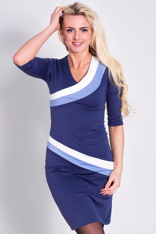 ПлатьеПлатья<br>Платье из плотного трикотажного полотна.  Сильно прилегающий силуэт, втачные рукава, длиной 3/4.  Горловина, и низ полочки декорированы контрастными ассиметричными вставками.   Длина по спинке 96-106 см. в зависимости от размера.  Цвет: синий, голубой, белый  Рост девушки-фотомодели 170 см<br><br>Горловина: V- горловина<br>По длине: До колена<br>По материалу: Вискоза,Трикотаж<br>По образу: Город<br>По рисунку: Цветные<br>По сезону: Весна,Осень<br>По силуэту: Полуприталенные<br>По стилю: Повседневный стиль<br>По форме: Платье - футляр<br>Рукав: До локтя<br>Размер : 42,44,46,48,50,52<br>Материал: Джерси<br>Количество в наличии: 3