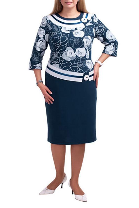 ПлатьеПлатья<br>Повседневное платье с круглой горловиной и рукавами 3/4. Модель выполнена из плотного трикотажа. Отличный выбор для повседневного гардероба.  Цвет: синий, белый  Рост девушки-фотомодели 173 см.<br><br>Горловина: С- горловина<br>По длине: Ниже колена<br>По материалу: Вискоза,Трикотаж<br>По образу: Город<br>По рисунку: Растительные мотивы,Цветные,С принтом,Цветочные<br>По сезону: Весна,Осень<br>По силуэту: Полуприталенные<br>По стилю: Повседневный стиль<br>По форме: Платье - футляр<br>Рукав: Рукав три четверти<br>По элементам: С отделочной фурнитурой<br>Размер : 52<br>Материал: Джерси<br>Количество в наличии: 11