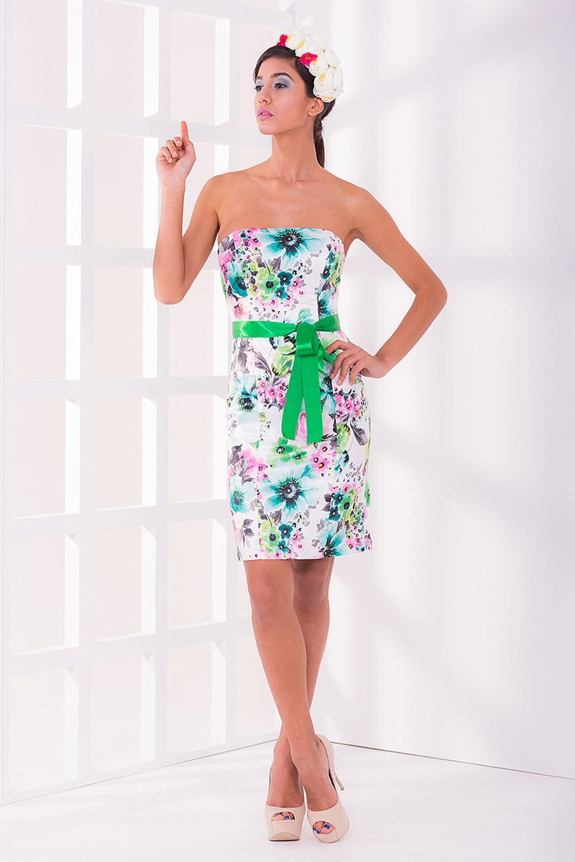 ПлатьеПлатья<br>Летний вариант классического корсетного платья. Длина мини и яркий цветочный узор придает свежести этой модели. Корсет на косточках-регленах, неизменно сохраняющий форму и поддерживающий фигурную линию декольте, а также подкладка из вискозы, настолько приятны в носке, что Вам никогда не захочется снимать это платье Платье без пояса  Цвет: белый, зеленый<br><br>По длине: До колена<br>По материалу: Атлас<br>По образу: Город,Клуб,Свидание<br>По рисунку: Растительные мотивы,Цветные,Цветочные,С принтом<br>По сезону: Весна,Всесезон,Зима,Лето,Осень<br>По стилю: Романтический стиль,Нарядный стиль,Повседневный стиль<br>По форме: Платье - футляр<br>По элементам: С открытой спиной,С открытыми плечами<br>Рукав: Без рукавов<br>По силуэту: Приталенные<br>Размер : 40,42<br>Материал: Атлас<br>Количество в наличии: 1