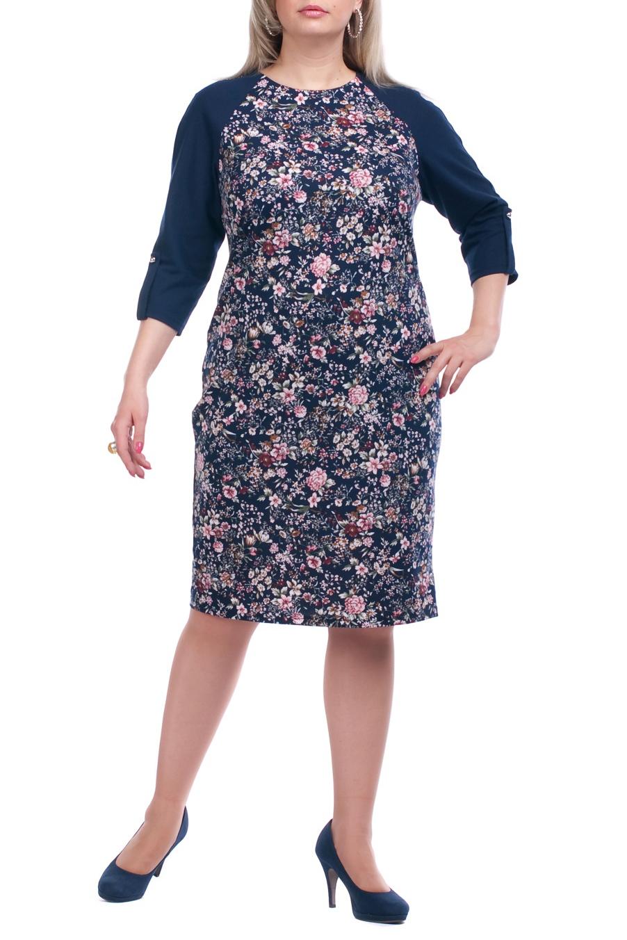 ПлатьеПлатья<br>Повседневное платье с круглой горловиной и рукавами 3/4. Модель выполнена из плотного трикотажа. Отличный выбор для повседневного гардероба.  Цвет: синий, розовый  Рост девушки-фотомодели 173 см.<br><br>Горловина: С- горловина<br>По длине: Ниже колена<br>По материалу: Вискоза,Трикотаж<br>По рисунку: Растительные мотивы,Цветные,Цветочные,С принтом<br>По сезону: Весна,Осень,Зима<br>По силуэту: Полуприталенные<br>По стилю: Повседневный стиль<br>По форме: Платье - футляр<br>По элементам: С патами,С карманами<br>Рукав: Рукав три четверти<br>Размер : 52,54,56,58,60,62,64,66,68,70<br>Материал: Трикотаж<br>Количество в наличии: 28