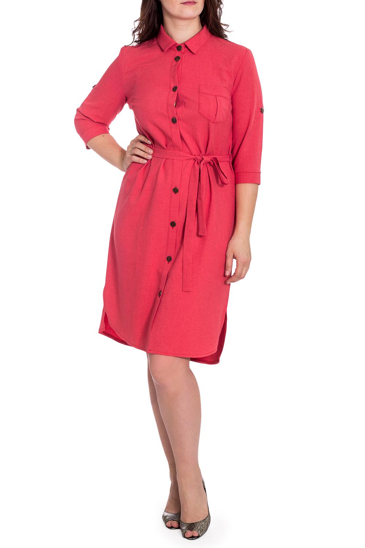 ПлатьеПлатья<br>Универсальное платье-рубашка в стиле сафари. Модель выполнена из хлопкового материала. Отличный выбор для любого случая. Платье без пояса.  Цвет: коралловый  Рост девушки-фотомодели 180 см.<br><br>Воротник: Рубашечный<br>По длине: Ниже колена<br>По материалу: Хлопок<br>По образу: Город,Свидание<br>По рисунку: Однотонные<br>По силуэту: Полуприталенные<br>По стилю: Повседневный стиль,Сафари<br>По форме: Платье - рубашка<br>По элементам: С карманами<br>Рукав: Рукав три четверти<br>По сезону: Осень,Весна<br>Размер : 46,50,54<br>Материал: Хлопок<br>Количество в наличии: 3
