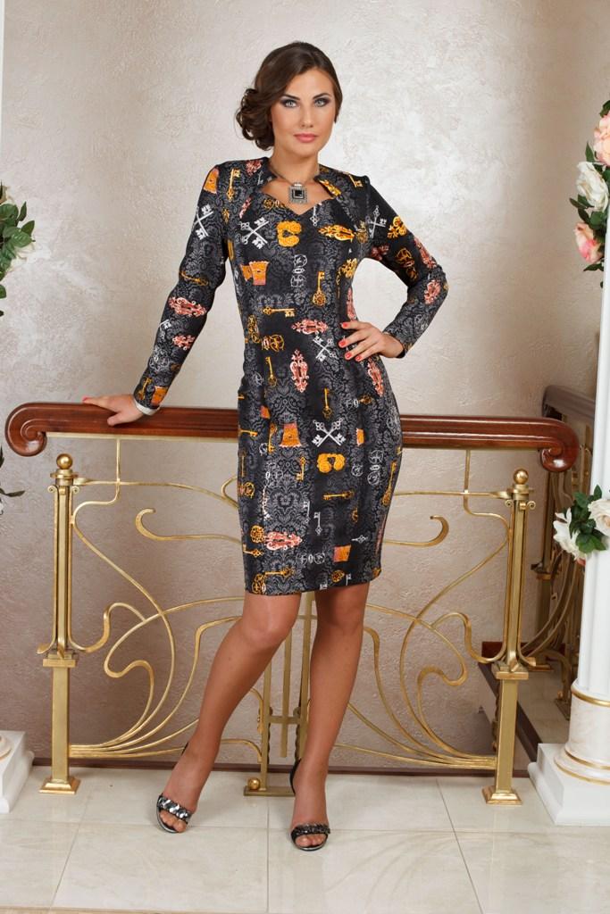 ПлатьеПлатья<br>Удобное платье с фигурной горловиной. Модель выполнена из плотного трикотажа. Отличный выбор для любого случая.   В изделии использованы цвета: черный, серый, желтый, розовый  Ростовка изделия 170 см.  Параметры (обхват груди; обхват талии; обхват бедер): 44 размер - 88; 66,4; 96 см 46 размер - 92; 70,6; 100 см 48 размер - 96; 74,2; 104 см 50 размер - 100; 90; 106 см 52 размер - 104; 94; 110 см 54-56 размер - 108-112; 98-102; 114-118 см 58-60 размер - 116-120; 106-110; 124-130 см<br><br>Горловина: Фигурная горловина<br>По длине: До колена<br>По материалу: Трикотаж<br>По рисунку: С принтом,Цветные<br>По силуэту: Приталенные<br>По стилю: Повседневный стиль<br>По форме: Платье - футляр<br>По элементам: С разрезом<br>Разрез: Короткий,Шлица<br>Рукав: Длинный рукав<br>По сезону: Зима<br>Размер : 50,54,56<br>Материал: Трикотаж<br>Количество в наличии: 3