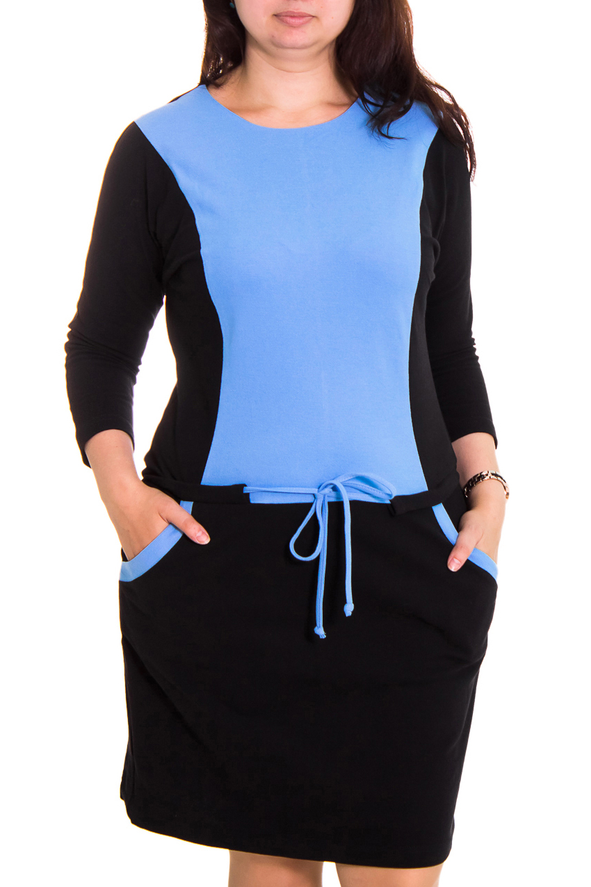 ПлатьеПлатья<br>Женское платье с круглой горловиной и рукавом 3/4. Модель выполнена из плотного трикотажа. Отличный вариант для повседневного гардероба.  Цвет: черный с голубым  Рост девушки-фотомодели 167 см<br><br>Горловина: С- горловина<br>По длине: До колена<br>По материалу: Вискоза,Трикотаж<br>По рисунку: Цветные<br>По сезону: Весна,Осень,Зима<br>По стилю: Офисный стиль,Повседневный стиль<br>По форме: Платье - футляр<br>По элементам: С декором,С карманами<br>Рукав: Рукав три четверти<br>По силуэту: Прямые<br>Размер : 46,48<br>Материал: Жаккард<br>Количество в наличии: 3