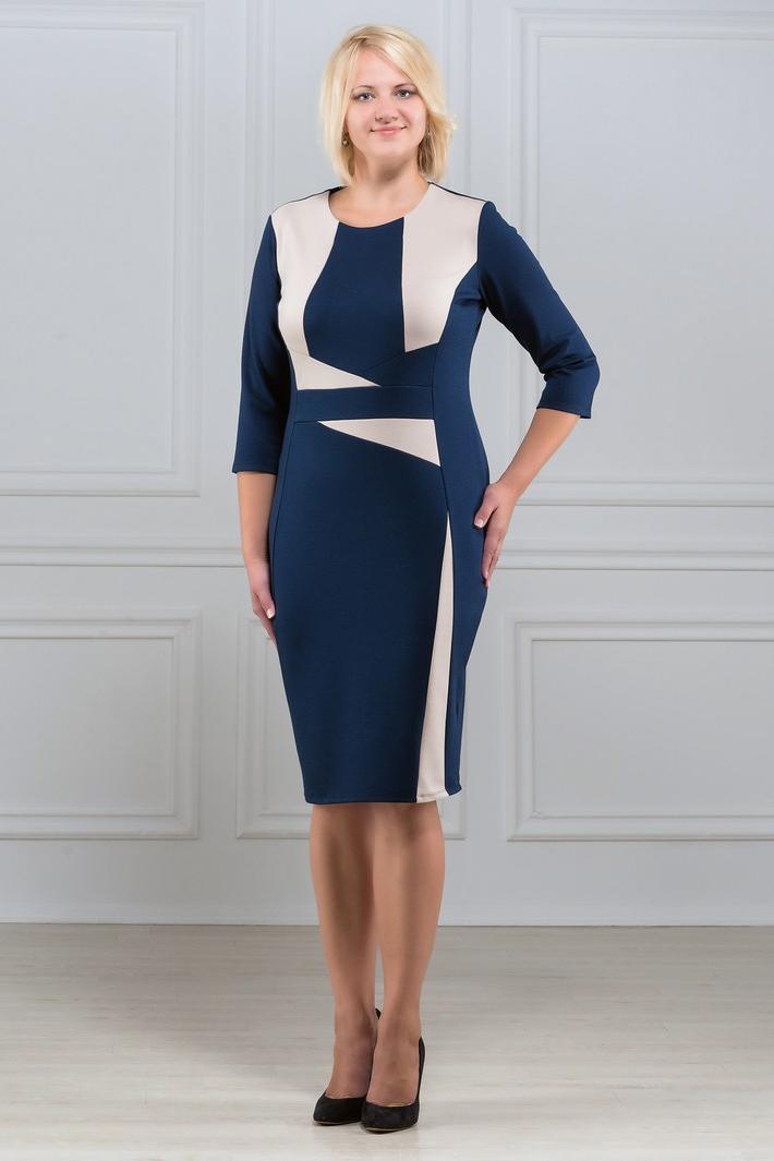 ПлатьеПлатья<br>Элегантное платье построенное на сочетании двух контрастных цветов и ассиметричном рисунке. Классический вариант для офиса. Вырез горловины круглый. Рукав 3/4. Ткань - плотный трикотаж, характеризующийся эластичностью, растяжимостью и мягкостью.   Плотность ткани 280 гр/м2  Длина изделия 100-105 см.  В изделии использованы цвета: синий, бежевый  Рост девушки-фотомодели 173 см<br><br>Горловина: С- горловина<br>По длине: Ниже колена<br>По материалу: Вискоза,Трикотаж<br>По рисунку: Цветные<br>По силуэту: Приталенные<br>По стилю: Повседневный стиль<br>По форме: Платье - футляр<br>Рукав: Рукав три четверти<br>По сезону: Осень,Весна,Зима<br>Размер : 46,48,50,52<br>Материал: Джерси<br>Количество в наличии: 8