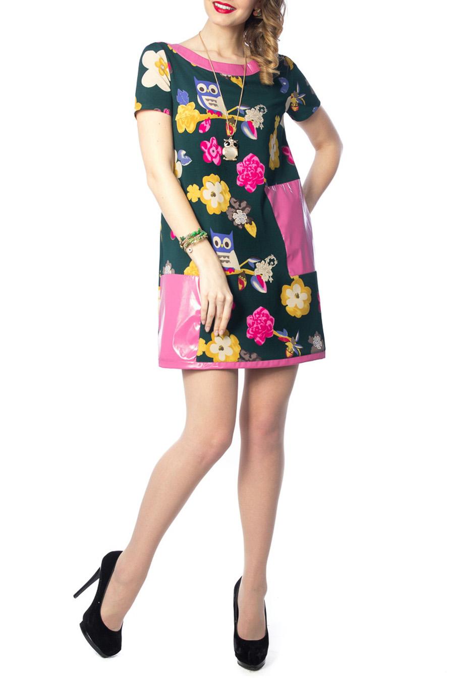 ПлатьеПлатья<br>Изумительное платье А-силуэта из трикотажного полотна зелено-розового цвета с модным принтом. Круглый вырез изделия обработан внешней кожаной обтачкой. Платье с втачными рукавами. Перед изделия дополнен вставками из лакированной кожи.   Аксессуары в комплект не входят.   Длина изделия по спинке от плечевого шва до низа изделия — 95 см.  Цвет: черный, розовый, желтый  Ростовка изделия 170 см.<br><br>Горловина: С- горловина<br>По длине: До колена<br>По материалу: Трикотаж<br>По рисунку: С принтом,Цветные<br>По силуэту: Прямые<br>По стилю: Молодежный стиль,Повседневный стиль<br>По форме: Платье - трапеция<br>По элементам: С карманами<br>Рукав: Короткий рукав<br>По сезону: Осень,Весна,Зима<br>Размер : 44,46,48,50<br>Материал: Трикотаж + Искусственная кожа<br>Количество в наличии: 6