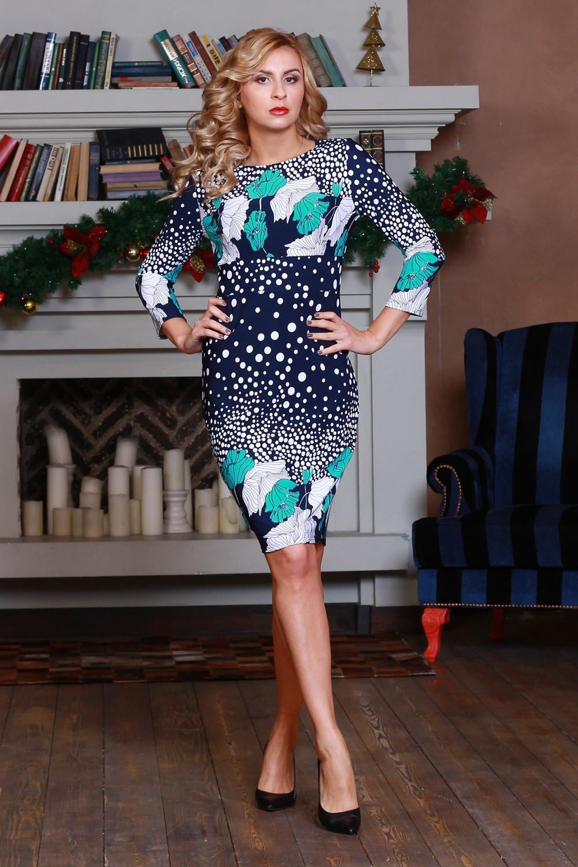 ПлатьеПлатья<br>Платье прилегающего силуэта из плотного трикотажного полотна, с округлым вырезом горловины и втачным рукавом 3/4. Изделие не требует особого ухода. Лаконичный строгий покрой создает идеальный силуэт.  Длина изделия от 91 см до 100 см, в зависимости от размера.  Цвет: синий, белый, бирюзовый  Рост девушки-фотомодели 175 см<br><br>Горловина: С- горловина<br>По длине: До колена<br>По материалу: Вискоза,Трикотаж<br>По образу: Город,Свидание<br>По рисунку: В горошек,Растительные мотивы,С принтом,Цветные,Цветочные<br>По силуэту: Приталенные<br>По стилю: Повседневный стиль<br>По форме: Платье - футляр<br>Рукав: Рукав три четверти<br>По сезону: Осень,Весна<br>Размер : 50<br>Материал: Трикотаж<br>Количество в наличии: 2