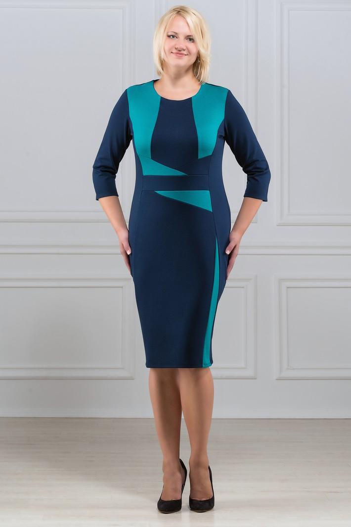 ПлатьеПлатья<br>Элегантное платье построенное на сочетании двух контрастных цветов и ассиметричном рисунке. Классический вариант для офиса. Вырез горловины круглый. Рукав 3/4. Ткань - плотный трикотаж, характеризующийся эластичностью, растяжимостью и мягкостью.   Плотность ткани 280 гр/м2  Длина изделия 100-105 см.  В изделии использованы цвета: синий, бирюзовый  Рост девушки-фотомодели 173 см<br><br>Горловина: С- горловина<br>По длине: Ниже колена<br>По материалу: Вискоза,Трикотаж<br>По рисунку: Цветные<br>По силуэту: Приталенные<br>По стилю: Повседневный стиль<br>По форме: Платье - футляр<br>Рукав: Рукав три четверти<br>По сезону: Осень,Весна,Зима<br>Размер : 46,48,50,52<br>Материал: Джерси<br>Количество в наличии: 6