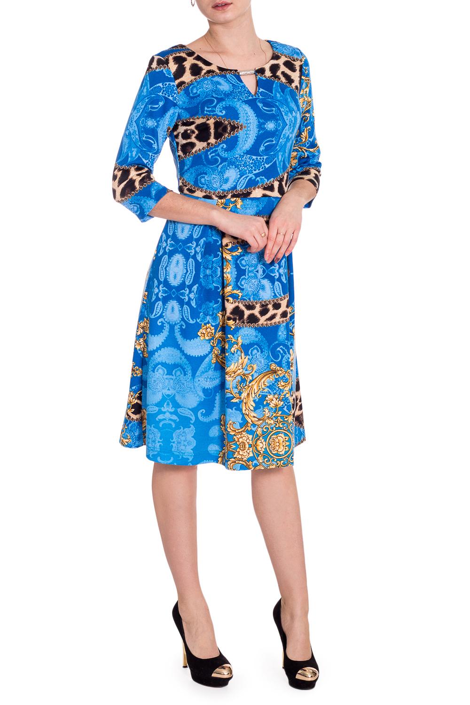 ПлатьеПлатья<br>Эффектное платье с декоративным элементом у горловины. Модель выполнена из приятного трикотажа. Отличный выбор для любого случая.  В изделии использованы цвета: синий, голубой и др.  Рост девушки-фотомодели 173 см.<br><br>Горловина: Лодочка<br>По длине: Ниже колена<br>По материалу: Вискоза,Трикотаж<br>По рисунку: С принтом,Цветные,Этнические<br>По силуэту: Приталенные<br>По стилю: Повседневный стиль<br>По форме: Платье - трапеция<br>По элементам: С декором<br>Рукав: Рукав три четверти<br>По сезону: Осень,Весна,Зима<br>Размер : 44<br>Материал: Трикотаж<br>Количество в наличии: 1