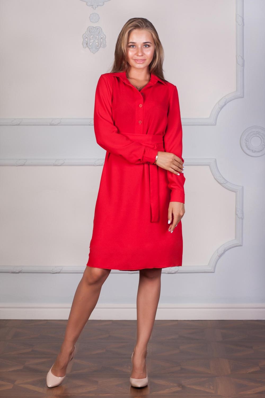 ПлатьеПлатья<br>Ультрамодное платье-рубашка с длинными рукавами. Модель выполнена из приятного материала. Отличный выбор для любого случая. Платье без пояса.  Цвет: красный  Ростовка изделия 170 см.  Длина спинки до подола: 42 размер - 39 см., 44-46 размер - 40 см., 48-50 размер - 41 см., 52-54 размер - 42 см., 56 размер - 43 см.  Длина подола: 42-48 размер - 63см., 50-56 размер - 65 см.<br><br>Воротник: Рубашечный<br>По длине: До колена<br>По материалу: Тканевые<br>По рисунку: Однотонные<br>По сезону: Весна,Зима,Лето,Осень,Всесезон<br>По силуэту: Полуприталенные<br>По стилю: Нарядный стиль,Повседневный стиль<br>По форме: Платье - рубашка<br>По элементам: С манжетами<br>Рукав: Длинный рукав<br>Размер : 48,52,54<br>Материал: Креп<br>Количество в наличии: 3