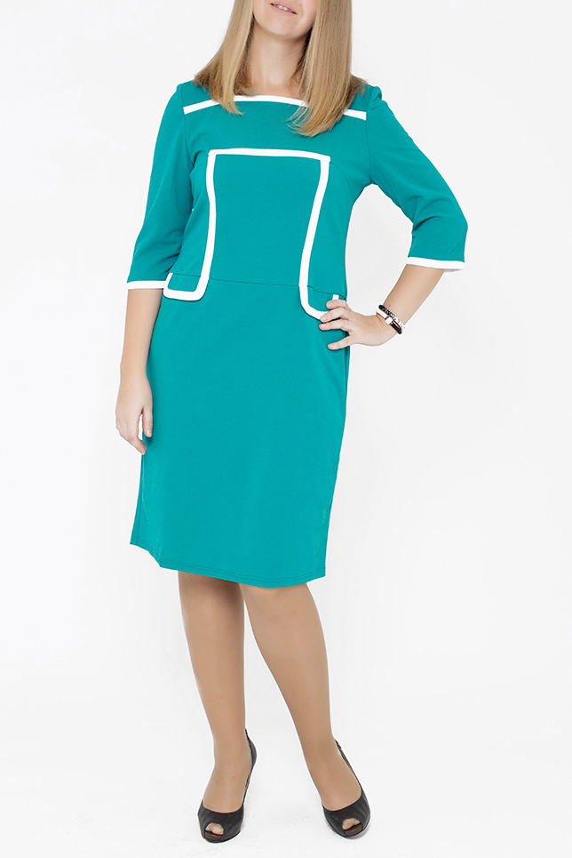 ПлатьеПлатья<br>Очень элегантная модель, уже успевшая понравиться нашим клиентам. Довольно строгая, выполнена из креп-стрейча, который не линяет и приятен к телу. Платье отлично сидит по фигуре, а отделка бейками образует силуэт песочные часы, который так идет любой женщине.  В изделии использованы цвета: бирюзовый, белый  Параметры размеров: 44 размер - обхват груди 84 см., обхват талии 72 см., обхват бедер 97 см. 46 размер - обхват груди 92 см., обхват талии 76 см., обхват бедер 100 см. 48 размер - обхват груди 96 см., обхват талии 80 см., обхват бедер 103 см. 50 размер - обхват груди 100 см., обхват талии 84 см., обхват бедер 106 см. 52 размер - обхват груди 104 см., обхват талии 88 см., обхват бедер 109 см. 54 размер - обхват груди 110 см., обхват талии 94,5 см., обхват бедер 114 см. 56 размер - обхват груди 116 см., обхват талии 101 см., обхват бедер 119 см. 58 размер - обхват груди 122 см., обхват талии 107,5 см., обхват бедер 124 см. 60 размер - обхват груди 128 см., обхват талии 114 см., обхват бедер 129 см.  Ростовка изделия 168 см.<br><br>Горловина: С- горловина<br>По длине: Ниже колена<br>По материалу: Трикотаж<br>По образу: Город,Офис,Свидание<br>По рисунку: Однотонные<br>По силуэту: Полуприталенные<br>По стилю: Офисный стиль,Повседневный стиль<br>По форме: Платье - футляр<br>По элементам: С декором,С разрезом<br>Разрез: Короткий,Шлица<br>Рукав: Рукав три четверти<br>По сезону: Осень,Весна,Зима<br>Размер : 48,50,52,54<br>Материал: Трикотаж<br>Количество в наличии: 7