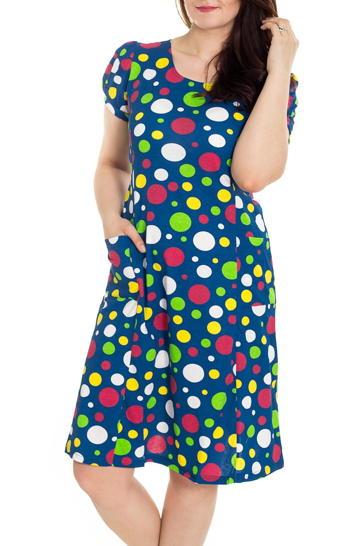 ПлатьеПлатья<br>Цветное платье с короткими рукавами. Домашняя одежда, прежде всего, должна быть удобной, практичной и красивой. В наших изделиях Вы будете чувствовать себя комфортно, особенно, по вечерам после трудового дня.  Цвет: синий, мультицвет  Рост девушки-фотомодели 180 см<br><br>Горловина: С- горловина<br>По рисунку: В горошек,Цветные,С принтом<br>По сезону: Весна,Зима,Лето,Осень,Всесезон<br>По силуэту: Полуприталенные<br>По форме: Платья<br>Рукав: Короткий рукав<br>По материалу: Трикотаж,Хлопок<br>Размер : 46,48,50,52,54,56<br>Материал: Трикотаж<br>Количество в наличии: 109