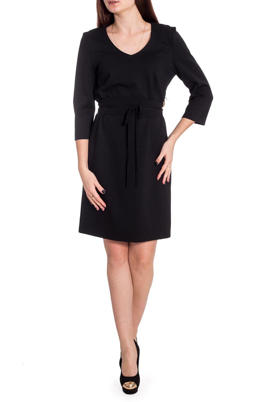 ПлатьеПлатья<br>Универсальное платье с рукавами 3/4. Модель выполнена из приятного трикотажа. Отличный выбор для повседневного и делового гардероба. Платье без пояса.  Цвет: черный  Рост девушки-фотомодели 173 см<br><br>Горловина: V- горловина<br>По длине: До колена<br>По материалу: Вискоза,Трикотаж<br>По рисунку: Однотонные<br>По силуэту: Приталенные<br>По стилю: Классический стиль,Офисный стиль,Повседневный стиль<br>По форме: Платье - футляр<br>Рукав: Рукав три четверти<br>По сезону: Осень,Весна,Зима<br>Размер : 46,48,50,52<br>Материал: Трикотаж<br>Количество в наличии: 8