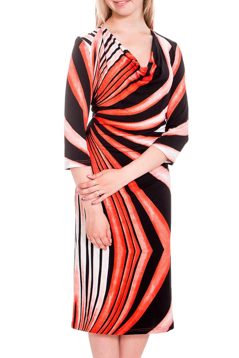 ПлатьеПлатья<br>Цветное платье с горловиной качель. Модель выполнена из приятного трикотажа с графическим принтом. Отличный выбор для любого случая.  В изделии использованы цвета: оранжевый, коричневый, белый  Рост девушки-фотомодели 170 см<br><br>Горловина: Качель<br>По длине: Ниже колена<br>По материалу: Вискоза<br>По рисунку: С принтом,Цветные<br>По силуэту: Полуприталенные<br>По стилю: Повседневный стиль<br>По форме: Платье - футляр<br>Рукав: Рукав три четверти<br>По сезону: Осень,Весна,Зима<br>Размер : 44,46,48<br>Материал: Вискоза<br>Количество в наличии: 3