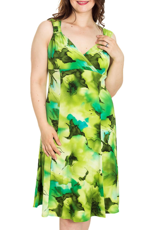 СарафанПлатья<br>Цветной сарафан с V-образной горловиной. Модель выполнена из мягкой вискозы. Отличный выбор для повседневного гардероба.  Цвет: зеленый, салатовый, желтый  Рост девушки-фотомодели 180 см<br><br>Горловина: V- горловина,Запах<br>По рисунку: Растительные мотивы,Цветные,Цветочные<br>По силуэту: Полуприталенные<br>По сезону: Лето,Всесезон<br>Рукав: Без рукавов<br>Размер : 56<br>Материал: Холодное масло<br>Количество в наличии: 2