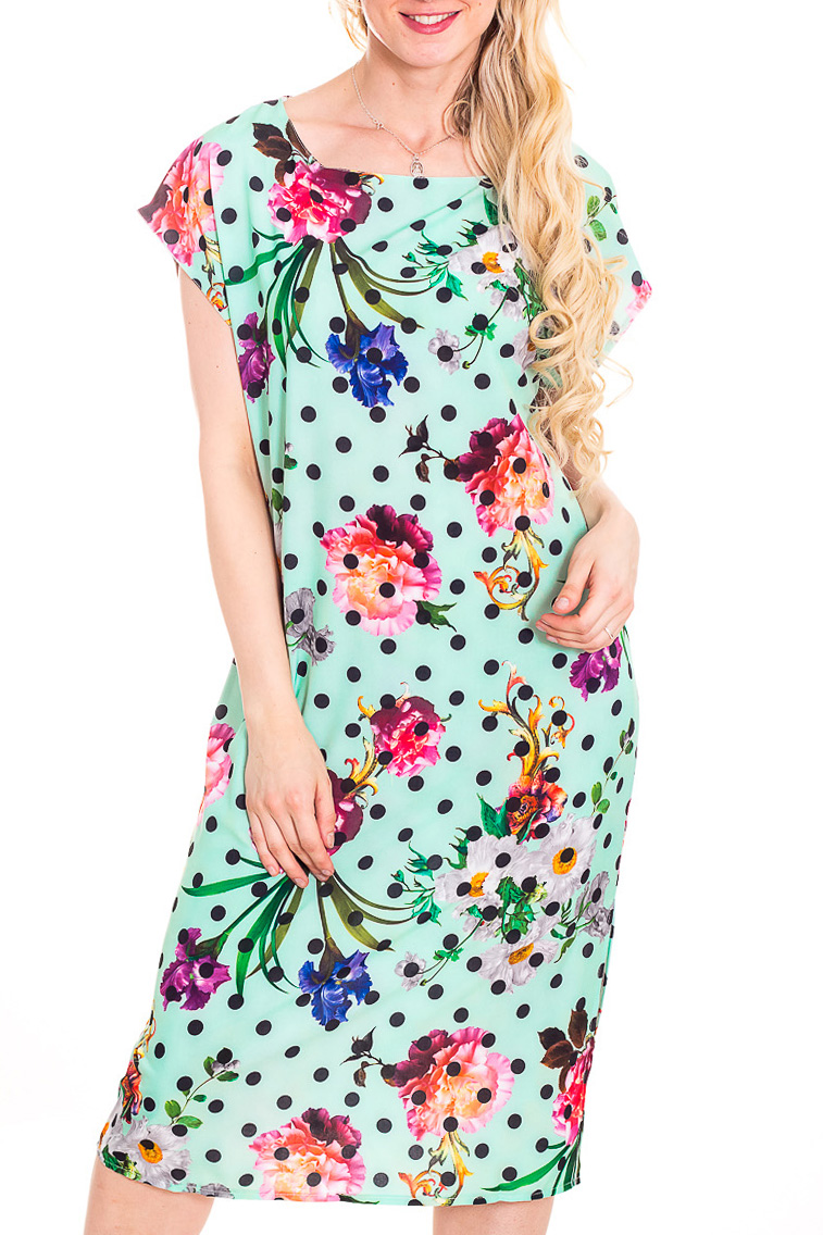 ПлатьеПлатья<br>Яркое платье полуприталенного силуэта с закругленной головиной и короткими рукавами. Модель выполнена из приятного материала. Отличный выбор для повседневного гардероба.  В изделии использованы цвета: мятный, розовый, синий и др.  Рост девушки-фотомодели 170 см.<br><br>Горловина: С- горловина<br>По длине: Ниже колена<br>По материалу: Тканевые<br>По образу: Город<br>По рисунку: В горошек,Растительные мотивы,С принтом,Цветные,Цветочные<br>По силуэту: Полуприталенные<br>По стилю: Повседневный стиль<br>По форме: Платье - футляр<br>Рукав: Короткий рукав<br>По сезону: Лето<br>Размер : 44<br>Материал: Плательная ткань<br>Количество в наличии: 1