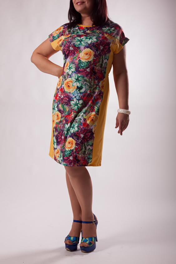 ПлатьеПлатья<br>Цветное платье с короткими рукавами и однотонными вставками по бокам. Модель выполнена из приятного трикотажа. Отличный выбор для повседневного гардероба.  Цвет: желтый, мультицвет  Ростовка изделия 170 см.<br><br>Горловина: С- горловина<br>По длине: До колена<br>По материалу: Трикотаж<br>По образу: Город,Свидание<br>По рисунку: Растительные мотивы,С принтом,Цветные,Цветочные<br>По силуэту: Полуприталенные<br>По стилю: Повседневный стиль,Романтический стиль<br>По форме: Платье - футляр<br>Рукав: Короткий рукав<br>По сезону: Лето<br>Размер : 50,52,54,56<br>Материал: Холодное масло<br>Количество в наличии: 2