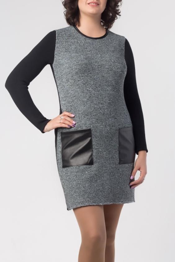 ПлатьеПлатья<br>Теплое платье с длинными рукавами и карманами из кожи. Вязаный трикотаж - это красота, тепло и комфорт. В вязаных вещах очень легко оставаться женственной и в то же время не замёрзнуть.  В изделии использованы цвета: серый, черный  Ростовка изделия 164 см.<br><br>Горловина: С- горловина<br>По длине: До колена<br>По материалу: Вязаные,Трикотаж<br>По рисунку: Цветные<br>По сезону: Осень,Зима<br>По силуэту: Полуприталенные<br>По стилю: Кэжуал,Офисный стиль,Повседневный стиль<br>По форме: Платье - футляр<br>По элементам: С карманами,С кожаными вставками<br>Рукав: Длинный рукав<br>Размер : 50,52,54,56<br>Материал: Вязаное полотно + Искусственная кожа<br>Количество в наличии: 10