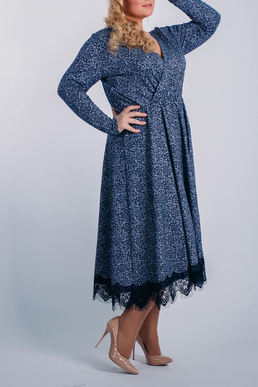 ПлатьеПлатья<br>Эффектное платье с декором из гипюра. Модель выполнена из приятного материала. Отличный выбор для любого случая.  Длина  по спинке 44-116 см 46-117 см 48-118 см 50-119 см 52-120 см 54-120 см Длина рукава 44-60 см 46-60 см 48-60 см 50-61 см 52-61 см 54-61 см  В изделии использованы цвета: синий, голубой, черный  Ростовка изделия 170 см.<br><br>Горловина: V- горловина,Запах<br>По длине: Миди,Ниже колена<br>По материалу: Гипюр,Трикотаж<br>По рисунку: С принтом,Цветные<br>По сезону: Весна,Зима,Лето,Осень,Всесезон<br>По силуэту: Приталенные<br>По стилю: Нарядный стиль,Повседневный стиль<br>По форме: Платье - трапеция<br>По элементам: С декором,Со складками<br>Рукав: Длинный рукав<br>Размер : 44,46,48,50,54<br>Материал: Трикотаж + Гипюр<br>Количество в наличии: 5