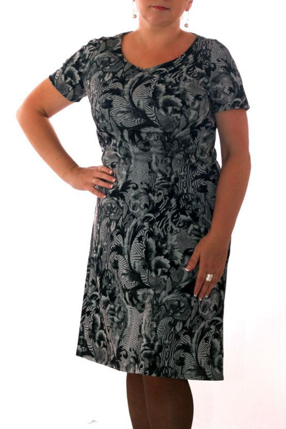 ПлатьеПлатья<br>Симпатичное женское платье с круглой горловиной и короткими рукавами. Модель выполнена из приятного трикотажа. Отличный выбор для повседневного гардероба.  Цвет: серый, белый, черный<br><br>По образу: Город,Свидание<br>По стилю: Повседневный стиль<br>По материалу: Вискоза,Трикотаж<br>По рисунку: Абстракция,Цветные<br>По сезону: Весна,Осень<br>По силуэту: Полуприталенные<br>По форме: Платье - футляр<br>По длине: Ниже колена<br>Рукав: Короткий рукав<br>Горловина: С- горловина<br>Размер: 46,48,50,52<br>Материал: None<br>Количество в наличии: 8