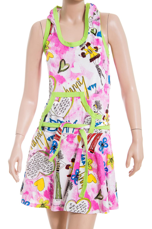 СарафанПлатья<br>Домашний сарафан с капюшоном. Домашняя одежда, прежде всего, должна быть удобной, практичной и красивой. В нашей домашней одежде Вы будете чувствовать себя комфортно, особенно, по вечерам после трудового дня.  В изделии использованы цвета: розовый, белый, зеленый и др.  Ростовка изделия 170 см<br><br>Горловина: С- горловина<br>По рисунку: Цветные,С принтом<br>По сезону: Весна,Зима,Лето,Осень,Всесезон<br>По силуэту: Полуприталенные<br>По форме: Сарафаны<br>По элементам: С карманами,С открытыми плечами<br>Бретели: Широкие бретели<br>По длине: Мини<br>По материалу: Хлопок<br>Рукав: Без рукавов<br>Размер : 42<br>Материал: Хлопок<br>Количество в наличии: 1