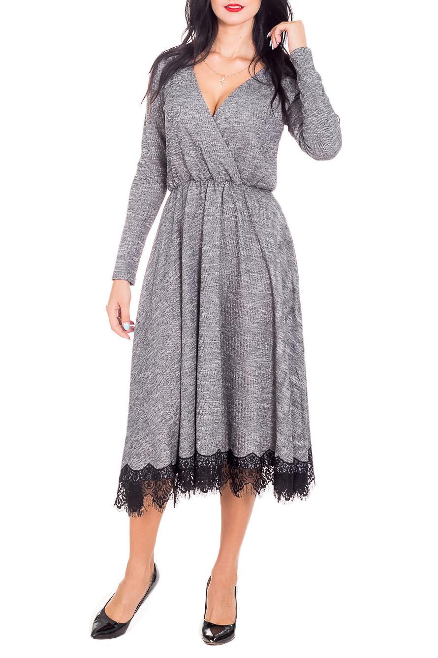 ПлатьеПлатья<br>Эффектное платье с декором из гипюра. Модель выполнена из приятного материала. Отличный выбор для любого случая.  Длина  по спинке 44-116 см 46-117 см 48-118 см 50-119 см 52-120 см 54-120 см Длина рукава 44-60 см 46-60 см 48-60 см 50-61 см 52-61 см 54-61 см  В изделии использованы цвета: серый, черный  Рост девушки-фотомодели 173 см.<br><br>Горловина: V- горловина,Запах<br>По длине: Миди,Ниже колена<br>По материалу: Гипюр,Трикотаж<br>По рисунку: Цветные<br>По сезону: Весна,Зима,Лето,Осень,Всесезон<br>По силуэту: Приталенные<br>По стилю: Нарядный стиль,Повседневный стиль<br>По форме: Платье - трапеция<br>По элементам: С декором<br>Рукав: Длинный рукав<br>Размер : 48<br>Материал: Трикотаж + Гипюр<br>Количество в наличии: 1