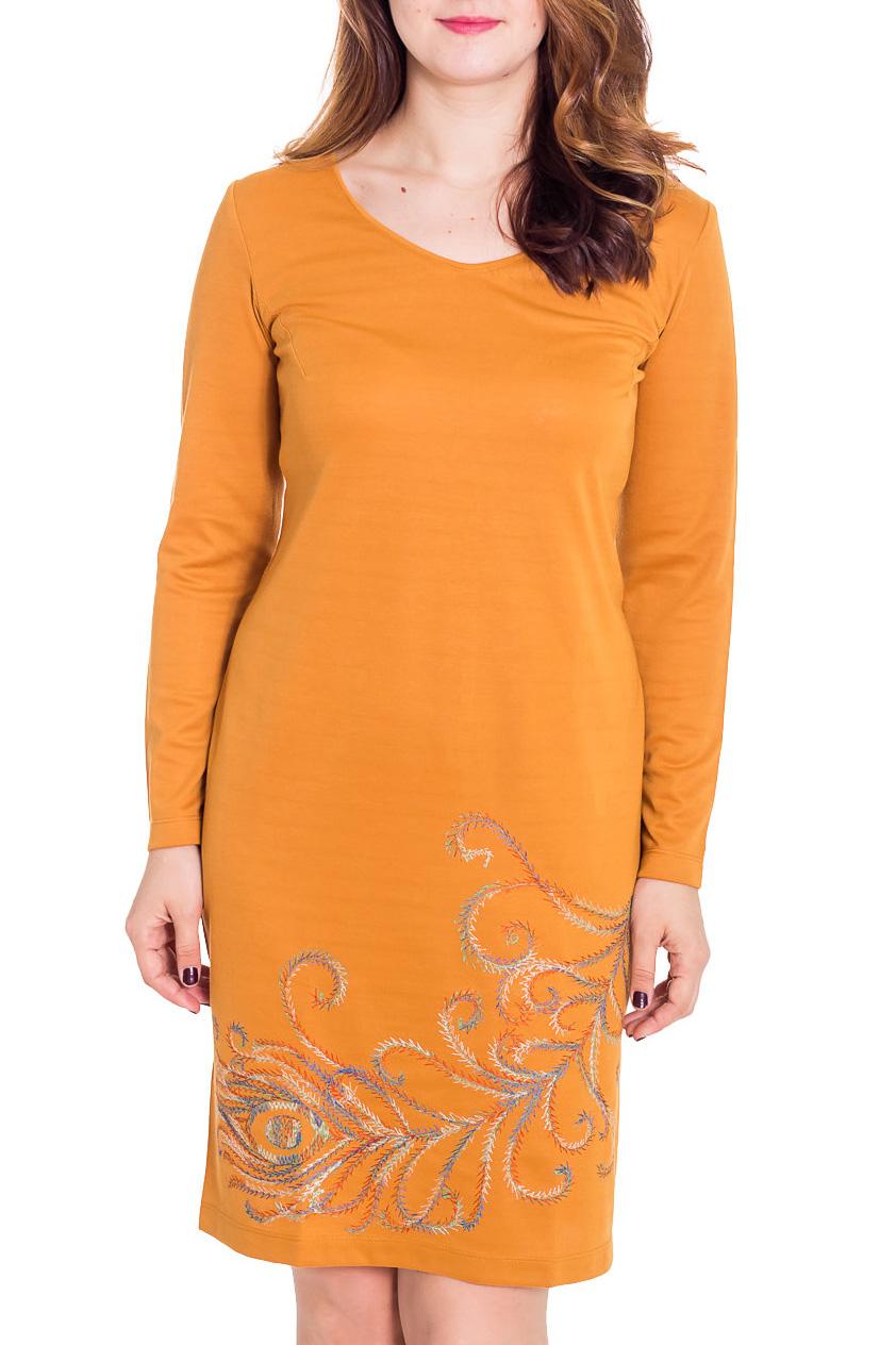 ПлатьеПлатья<br>Теплое женское платье с длинными рукавами. Модель выполнена из плотного трикотажа. Отличный выбор для повседневного гардероба.  Цвет: желтый  Рост девушки-фотомодели 180 см<br><br>Горловина: V- горловина<br>По длине: До колена<br>По материалу: Вискоза,Трикотаж<br>По рисунку: Однотонные<br>По сезону: Зима<br>По силуэту: Полуприталенные<br>По стилю: Повседневный стиль<br>По форме: Платье - футляр<br>По элементам: С декором<br>Рукав: Длинный рукав<br>Размер : 42,44,46,50<br>Материал: Трикотаж<br>Количество в наличии: 5