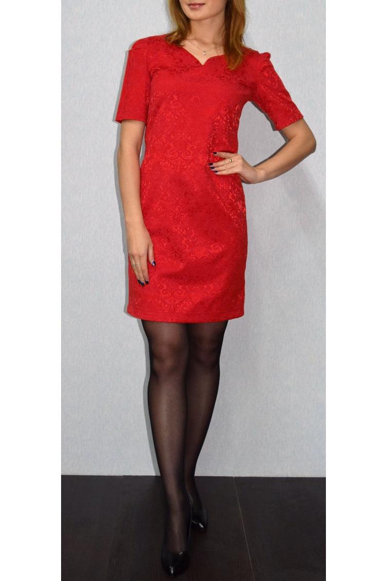 ПлатьеПлатья<br>Нарядное платье с короткими рукавами и фигурной горловиной. Модель выполнена из приятного материала.  Отличный выбор для любого случая.Цвет: красныйРостовка изделия 170 см.<br><br>Горловина: Фигурная горловина<br>Разрез: Короткий<br>Рукав: Короткий рукав<br>Длина: До колена<br>Материал: Жаккард<br>Стиль: Вечерний стиль,Нарядный стиль<br>Рисунок: Однотонные,Фактурный рисунок<br>Сезон: Весна,Всесезон,Зима,Лето,Осень<br>Силуэт: Приталенные<br>Форма: Платье - футляр<br>Элементы: С разрезом<br>Размер : 44,46,48,50<br>Материал: Жаккард<br>Количество в наличии: 4