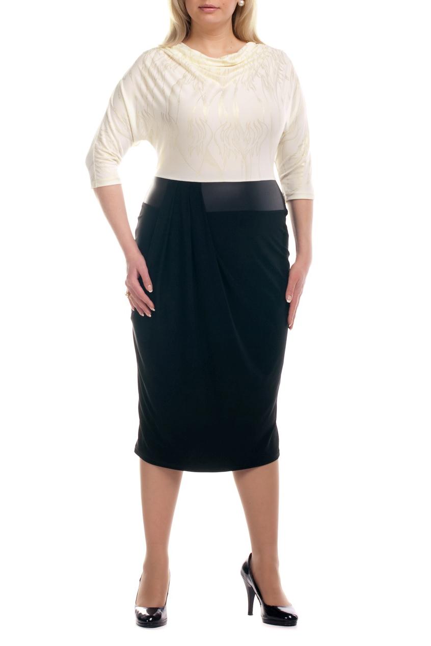 ПлатьеПлатья<br>Интересное платье имитирующее блузку и юбку. Модель выполнена из приятного трикотажа. Отличный выбор для любого торжества.  Цвет: черный, бежевый  Рост девушки-фотомодели 173 см<br><br>Горловина: Качель<br>По длине: Ниже колена<br>По материалу: Трикотаж<br>По образу: Город,Офис,Свидание<br>По рисунку: Цветные<br>По сезону: Весна,Осень<br>По силуэту: Полуприталенные<br>По стилю: Повседневный стиль<br>По форме: Платье - футляр<br>Рукав: Рукав три четверти<br>Размер : 54,58,60,62,64,68,70<br>Материал: Холодное масло<br>Количество в наличии: 14