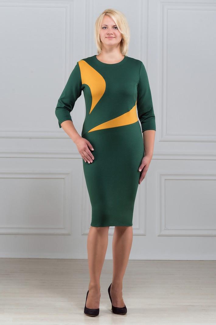 ПлатьеПлатья<br>Элегантное платье построенное на сочетании двух контрастных цветов и ассиметричном рисунке. Классический вариант для офиса. Вырез горловины круглый. Рукав 3/4. Ткань - плотный трикотаж, характеризующийся эластичностью, растяжимостью и мягкостью.  Плотность ткани 280 гр/м2  Длина изделия 100-105 см.  В изделии использованы цвета: зеленый, желтый  Рост девушки-фотомодели 173 см<br><br>Горловина: С- горловина<br>По длине: До колена<br>По материалу: Вискоза,Трикотаж<br>По рисунку: Цветные<br>По силуэту: Приталенные<br>По стилю: Повседневный стиль<br>По форме: Платье - футляр<br>Рукав: Рукав три четверти<br>По сезону: Осень,Весна,Зима<br>Размер : 50,52,56,58,60<br>Материал: Трикотаж<br>Количество в наличии: 5