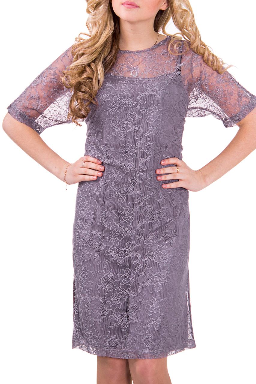 ПлатьеПлатья<br>Нарядное женское платье с круглой горловиной и коротким рукавом. Модель выполнена из однотонной трикототажной основы и верха из ажурного гипюра. Отличный вариант для любого торжества.  Цвет: сиреневый  Рост девушки-фотомодели 164 см<br><br>Горловина: С- горловина<br>По материалу: Вискоза,Гипюр,Трикотаж<br>По рисунку: Однотонные<br>По сезону: Весна,Всесезон,Зима,Лето,Осень<br>По силуэту: Полуприталенные<br>По форме: Платье - футляр<br>По стилю: Нарядный стиль,Повседневный стиль<br>По длине: До колена<br>Рукав: До локтя<br>Размер : 46,48,50,52,54,56<br>Материал: Гипюр<br>Количество в наличии: 6
