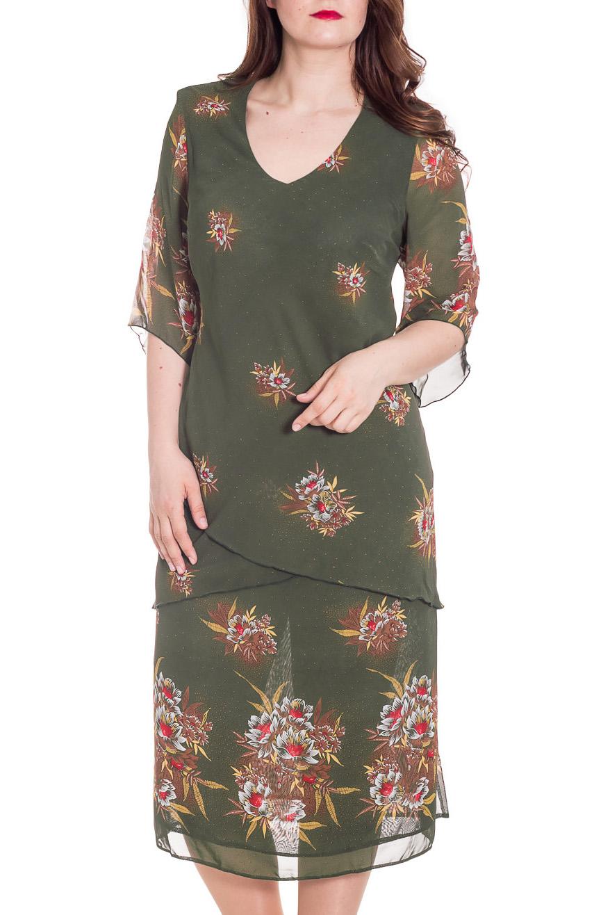 ПлатьеПлатья<br>Цветное платье длиной ниже колена. Модель выполнена из воздушного шифона. Отличный выбор для повседневного гардероба.  Цвет: зеленый, мультицвет  Рост девушки-фотомодели 180 см<br><br>Горловина: С- горловина<br>По длине: Ниже колена<br>По материалу: Шифон<br>По образу: Свидание<br>По рисунку: Растительные мотивы,С принтом,Цветные,Цветочные<br>По силуэту: Прямые<br>По стилю: Повседневный стиль<br>По элементам: С подкладом<br>Рукав: Рукав три четверти<br>По сезону: Лето<br>Размер : 64<br>Материал: Шифон<br>Количество в наличии: 1